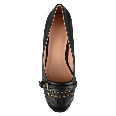 b65b661a375 Women s Journee Collection Nora Stacked Heel Loafer Pumps - Black 8.5