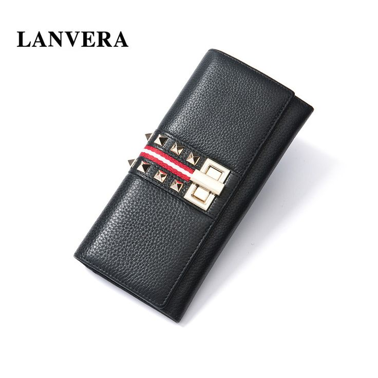 LANVERA Brand Real Leather Women's Purse Long Wallet Clutch Rivet   Female Wallets For Credit Cards 12 Card Holder Coin Purse