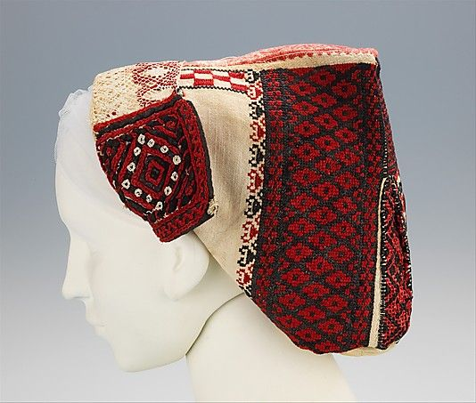 Cap Date: 1890–1910 Culture: Slovak Medium: cotton, wool, silk