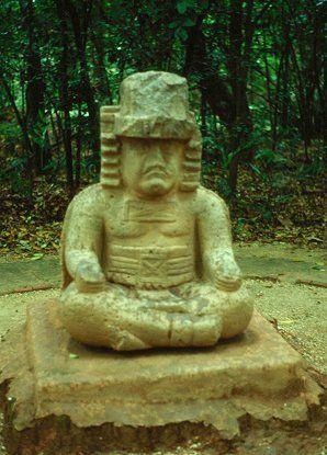 Olmec Priest. Parque La Venta Olmec Archaeological Park, Villahermosa, Mexico.