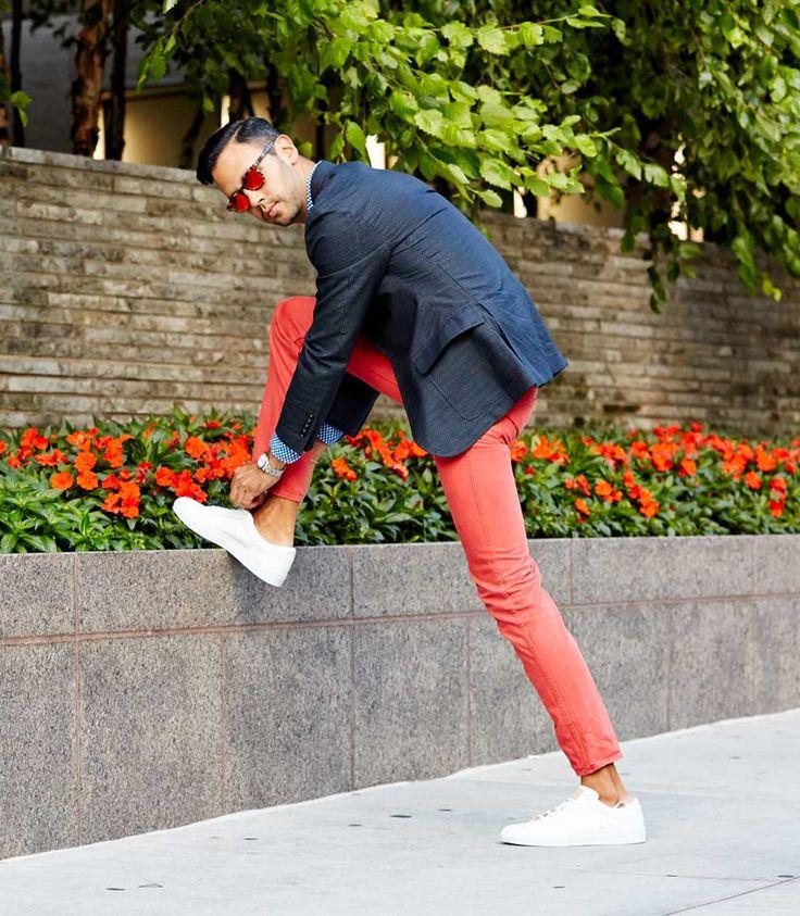 Cool Man. Orange Pants and Blue Blazer
