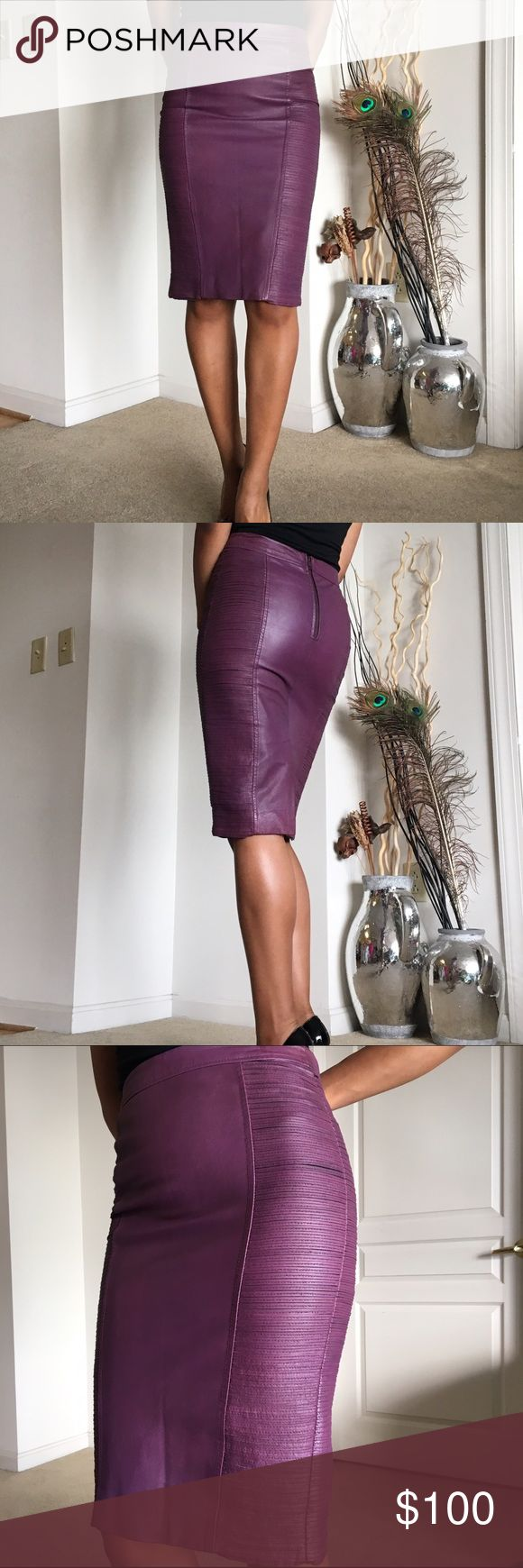 Warehouse purple leather pencil skirt REAL leather, side mini panel detail, back slit and back zip. I just had the leather conditioned, line in front is from being folded in closet. Really soft and I would keep it but it's a tiny bit too tight. Tag says UK 8. Warehouse brand purchased from ASOS Asos Skirts Pencil