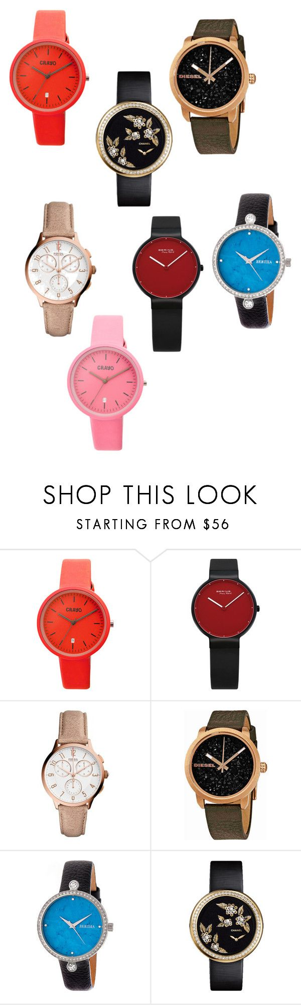 """""""2016 Ladies Watches Online"""" by billwang82123 ❤ liked on Polyvore featuring Crayo, FOSSIL, Diesel and Chanel"""