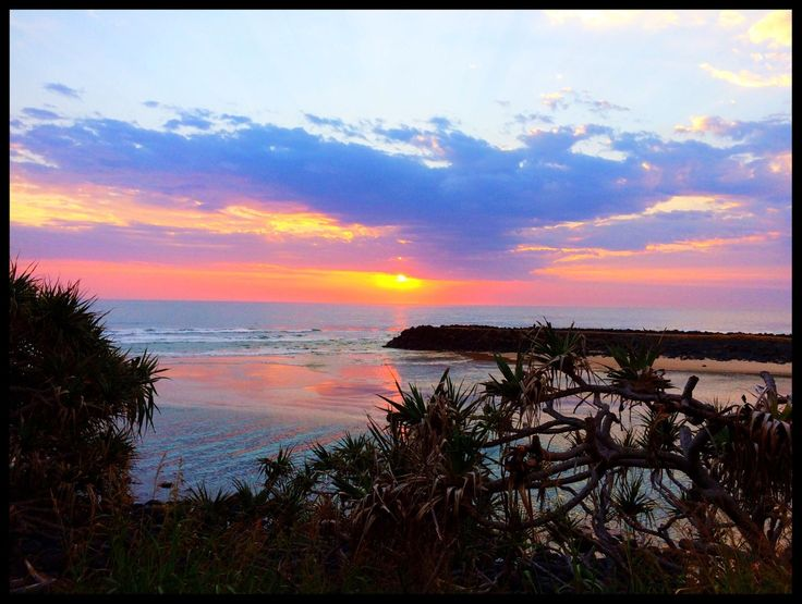 Sunrise over Tallebudgera Creek mouth from Burleigh Heads National Park.