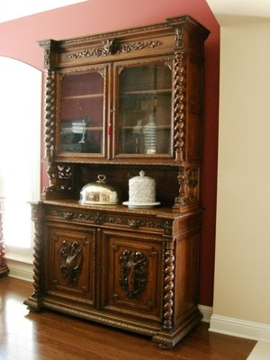 Antique French Carved Oak Barley Twist Hunt Cabinet Hutch