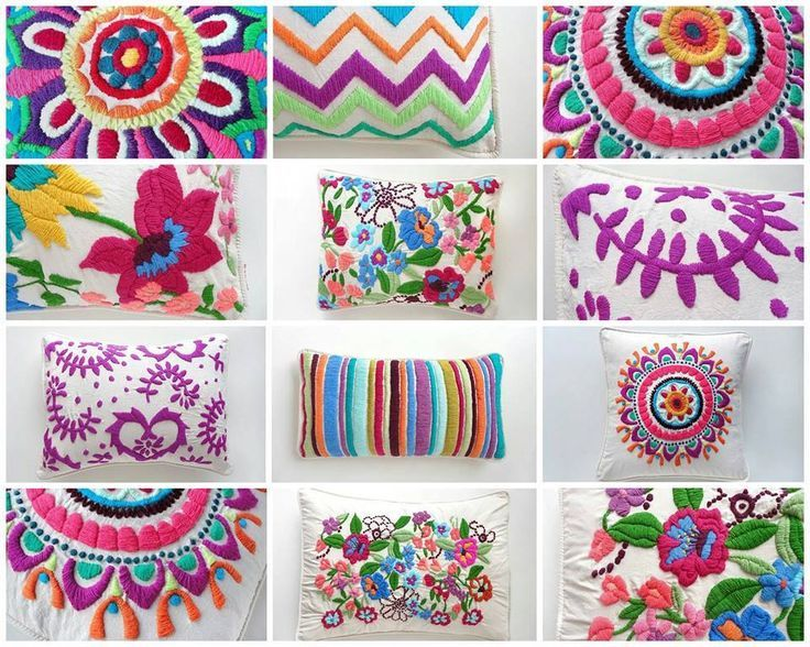 almohadones bordados a mano   Bordado mexicano   Pinterest