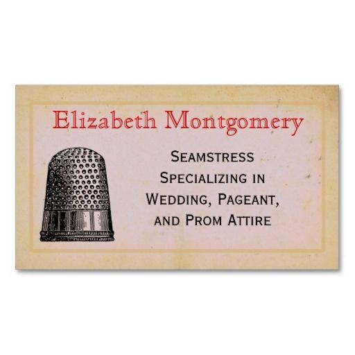 Vintage Thimble Seamstress Tailor Business Cards Business Card Template
