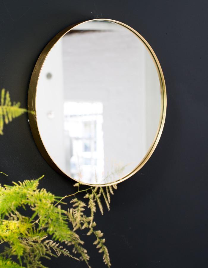 Round Gold Edged Mirror, Simple Round Mirror