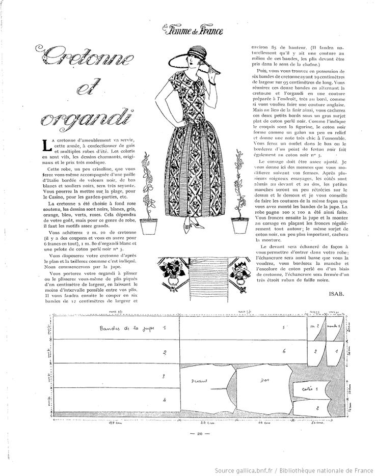 1920's Vintage Pattern. La Femme de France 1922/08/13. by gallica.bnf.fr                                                                                                                                                                                 Plus
