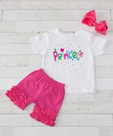 0542fd66c Loving this Hot Pink   White  Princess  Ruffle-Trim Shorts Set - Toddler    Girls on  zulily!  zulilyfinds