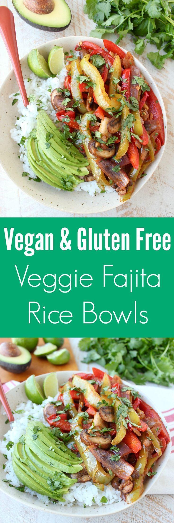 Saut�ed, seasoned veggies are served on top of cilantro lime rice with fresh avocado for a flavorful, easy to make, vegan & gluten free fajita recipe!