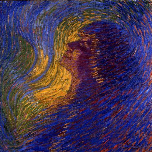 Perfume -  autor: Luigi Russolo artista:  Fecha de finalización: 1910, con un Estilo que va de una mescla entre: Futurismo , divisionismo basado en el género: de pintura simbólica