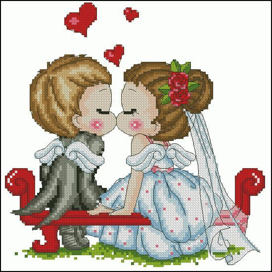"Free cross-stitch pattern ""Wedding"" 
