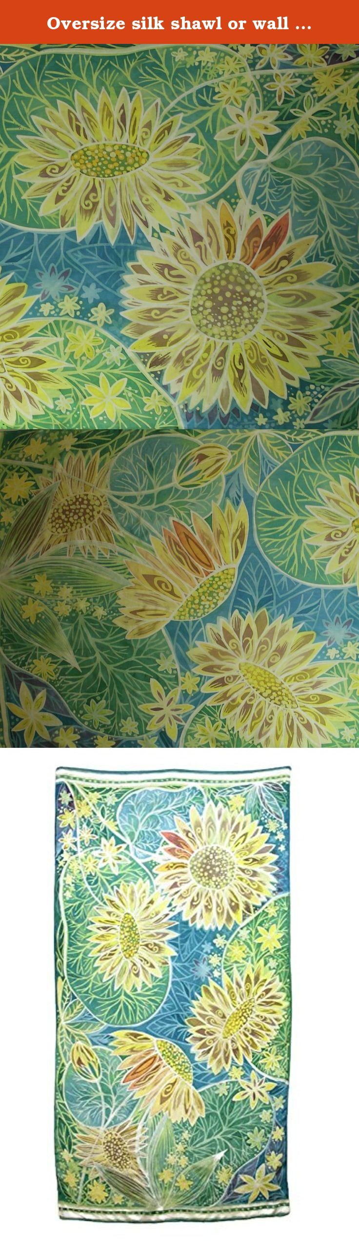 Oversize silk shawl or wall art: Hot wax batik on silk. Floral pattern. Sunflower art. Original painting on silk.Very delicate, soft and a little bit shimmering lightwear 100% natural silk (pongee5) with hand rolled hems. Size: approx.35 x 71 inches (90 x 180 cm). Care instructions: Please hand wash only in lukewarm water with one drop of delicate detergent. Do not wring or twist - roll in towel to extract water. Iron while silk is a little bit wet. I ship worldwide via Latvijas Pasts…