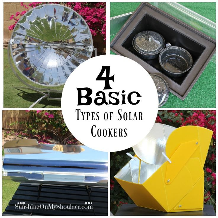 Four basic types of solar cookers can be found on the commercial market today. If you are new to solar cooking, trying to decide which one is best can be a challenge. In the end, the best one for you depends on your needs.