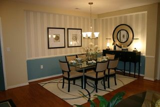 Dining Room Wall Paint Idea. Villages at Sheltered Harbor Model Condo - traditional - dining room - other metro - by Laura Manning Bendik