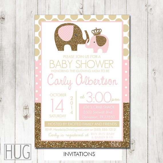 personalized pink and gold glitter elephants baby shower