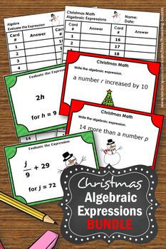 6th Grade Christmas Math Centers Games With 6th Grade Algebra Task