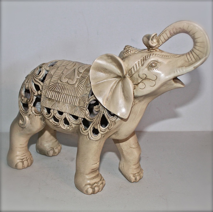 Elephant Statue Ivory Figurine Home Decor Ornate Nursery Decor Shabby