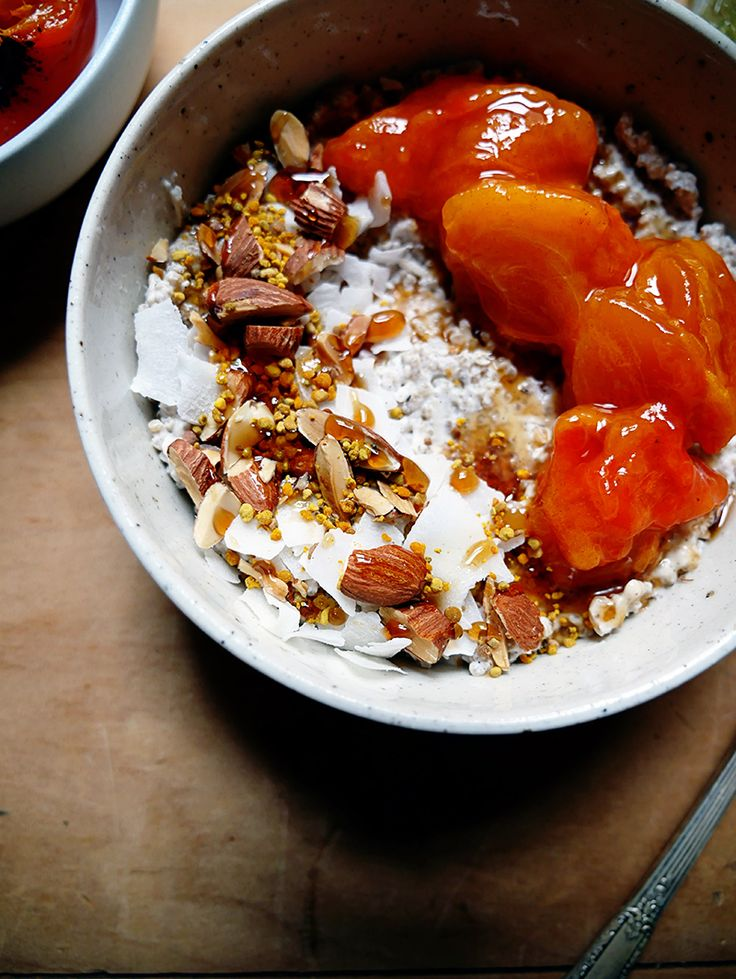 A big healthy bowl of breakfast - Coconut Quinoa Bircher Muesli with Chai Spices and Persimmons - a recipe and an ode to a time long ago, by Sweetpea Darlingheart  • vegan • gluten free • make ahead •