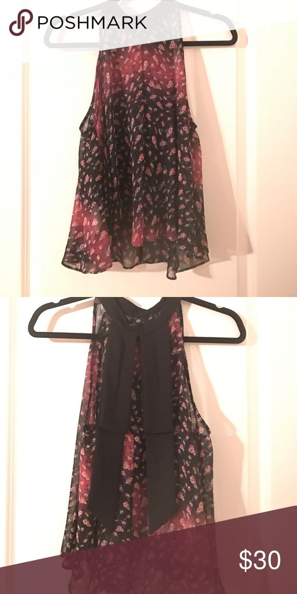 Bcbgeneration top Sheer flower patterned, flowy tank. Black bow in the back with clip to secure high neck. BCBGeneration Tops Tank Tops
