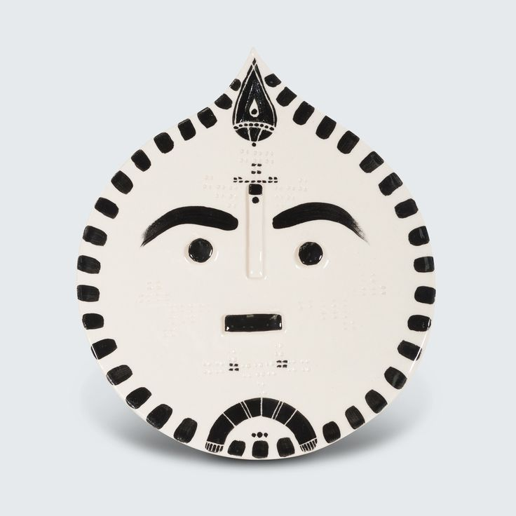 Individually handmade 'Ceramic Faces' wall plaque by Louise Kyriakou. Each one is unique, this particular design is titled 'Makanui', 2016.