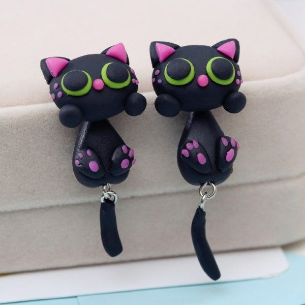 1 pair Cute black cat stud earrings for women Creative polymer clay kids earring with 925