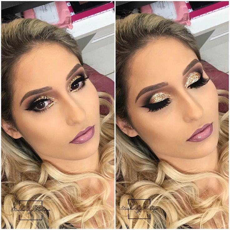 Ontem terminei meu dia com esse espetáculo no dourado  Make linda na linda @jeniferbevilaqua ❤️❤️ Batom Mirach  Da Michellynha aqui rsrs @michellypalmacosmetics  ___ Yesterday I finished my day with this golden spectacle  Beautiful makeup on the pretty @jeniferbevilaqua ❤️❤️