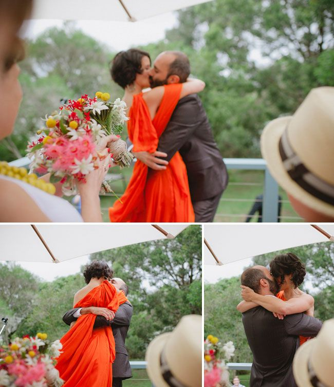 I looove the idea of an orange wedding dress--or a pink one--or a purple one--or a light blue one--or or or!