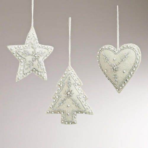 Embroidered Fabric Star, Heart, and Tree Ornaments, Set of 3
