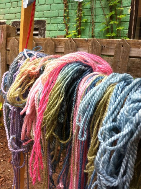 Week 2 campers dying yarn from a local ontario farm