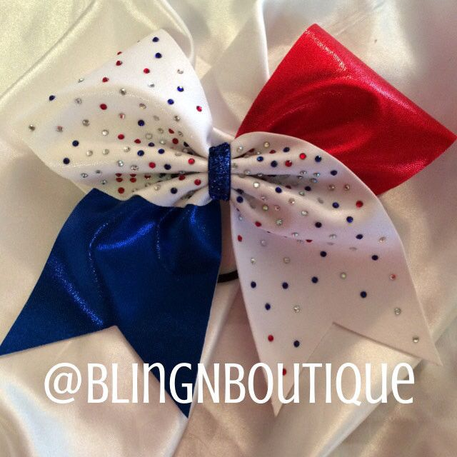 Get all blinged out with this red, white and royal blue mystic cheer bow with 210 3mm rhinestones in red, royal, clear and clear AB. Search DaBling and check out all the other colors this design is av