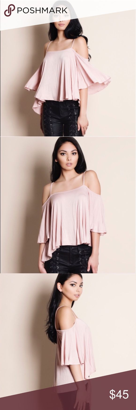 🆕DEBBIE off shoulder flutter top - MAUVE arling & oh so perfect for some fun in the sun! Loose fit flutter sleeve top, cold shoulder.   Also available in TAUPE, black, wine.   🚨PRICE FIRM🚨 Bellanblue Tops Blouses