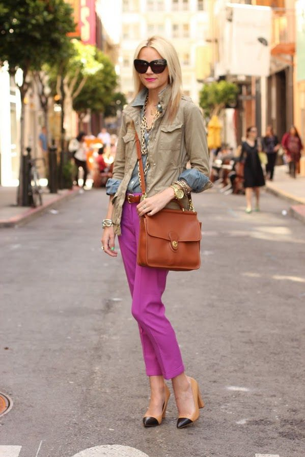 purple pants, classic coach + color-block heels: Colors Pants, Atlantic Pacific, Style Inspiration, Design Handbags, Chambray Shirts, Pink Pants, Outfit, Purple Pants, Bright Pants
