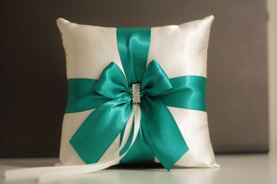 Green Ring Bearer Pillow + Flower girl Basket Set \ Emerald Wedding Pillow + Wedding Ceremony Basket Set +Guest book + Cake Serving Set