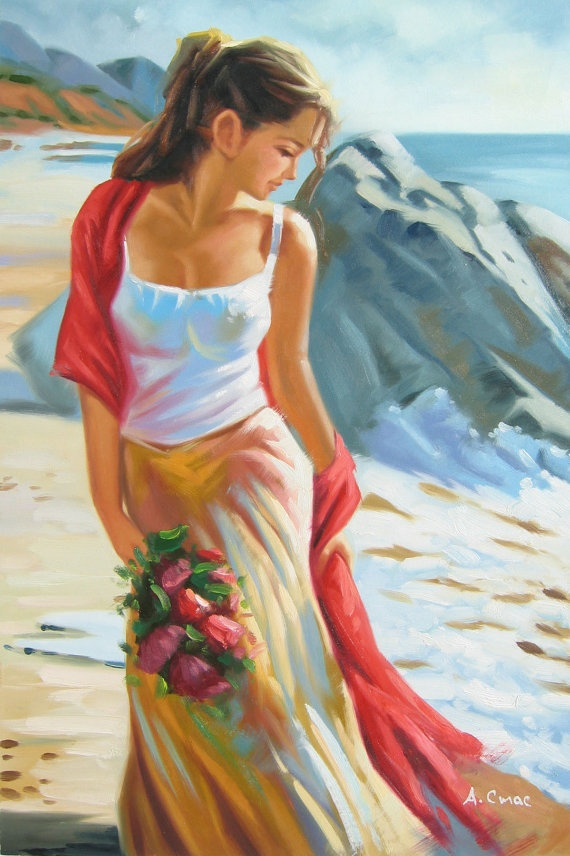 Tide  original oil painting by Andrey Stas 36x24 or 92x62 by 1art, $188.00