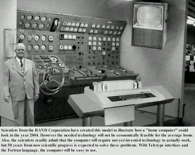 Computer use in 2004 as it was foreseen in the 1950's.