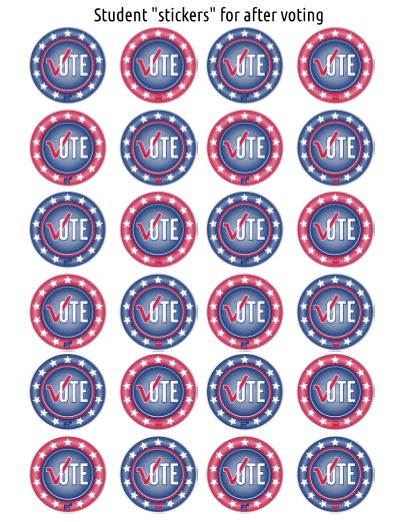 "Vote ""stickers"" to use on Election Day!  Will you be holding a mock Presidential Election in your classroom or campus this year? Check out this Presidential Election for Kids 2016 teacher-created material. Included are signs for voter's registration, voter registration cards, voting ""stickers"", ballot box sign and ballots, as well as a Vote Aquí/Here sign."