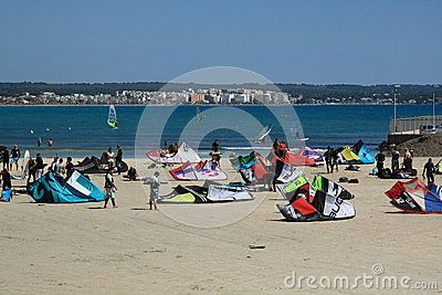 Kite surfing on a sunny day in the Playa de Palma. Mallorca, Spain