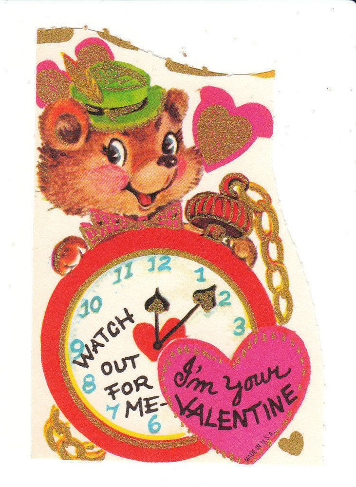 vintage valentine card bear and pocket watch unused die cut for children kids