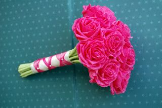 hot pink bouquets for weddings | hot pink roses bridesmaids bouquets for Kristy | Handmade Flowers