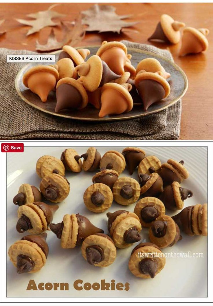 Thanksgiving/Fall Hershey treats Acorn cookies