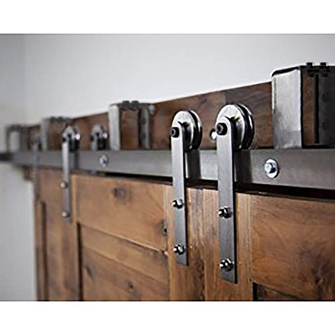 Zekoo Rustic Style 12 Ft Bypass Double Sliding Door Roller Track Hardware Modern Style Barn Doors Cabinet Closet Bypass Barn Door Barn Door Hardware Barn Door