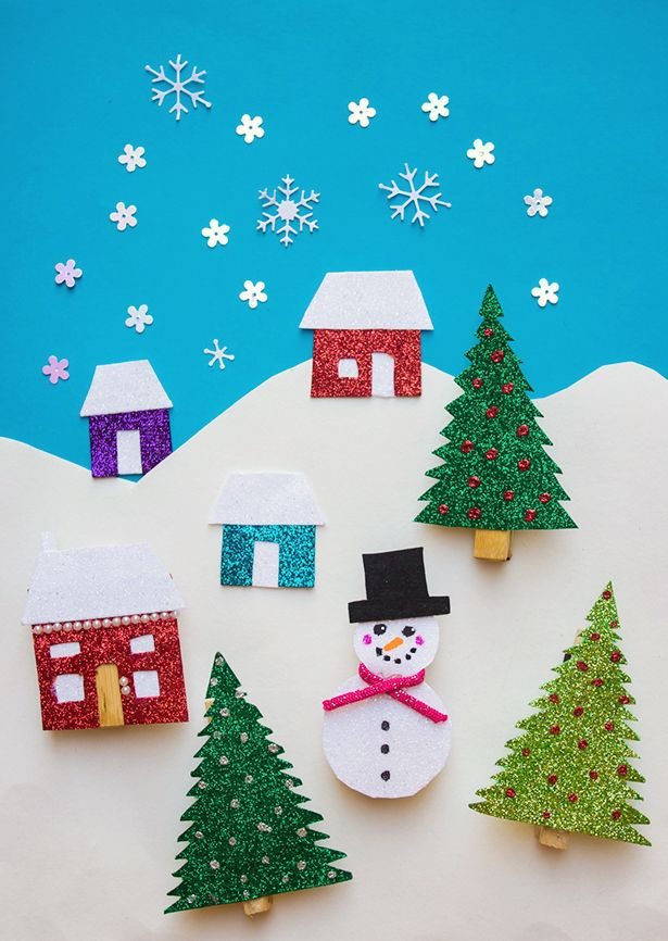 DIY Winter Holiday Fridge Magnets. Cute Christmas craft for kids!