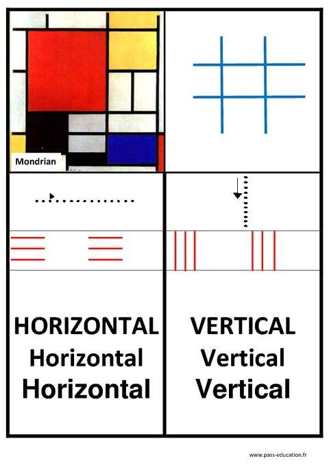 Affiche graphisme – Lignes horizontales et verticales – Maternelle – Petite, moyenne, et grande section – Pass Education