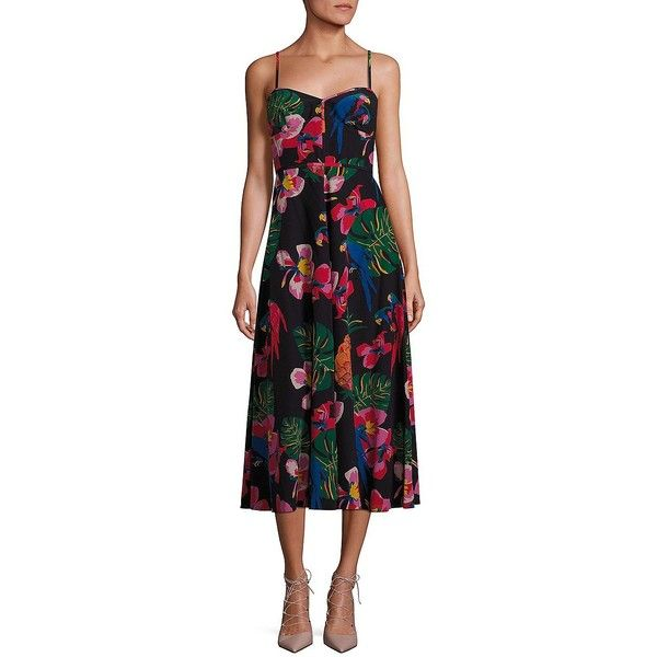 Valentino Tropical Dream Cami Dress ($4,250) ❤ liked on Polyvore featuring dresses, apparel & accessories, camisole dress, valentino dress, cami dress, sweetheart dress and sweetheart neck dress