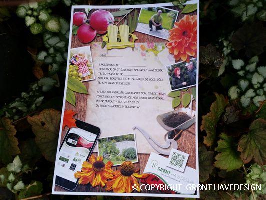 Grønt Havedesign udsteder gavekort til flere haveydelser bl.a. en havegennemgang kombineret med haverådgivning. Det kunne også dreje sig om en haveskitse eller plan.