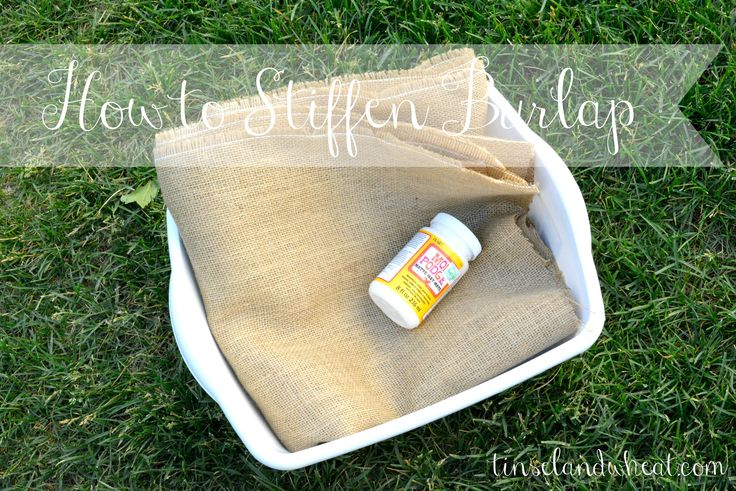 """Ever wondered how to stiffen up that burlap to get perfect triangles or pennant shapes for your banners or other burlap projects!? I'm sharing my """"secret to stiff"""" with the following easy peasy tutorial… Supplies needed: Burlap 8oz bottle of Mod Podge or Elmers Glue Plastic tub Whisk Water Fill that tub up with water. The less water you add the stiffer your burlap will"""