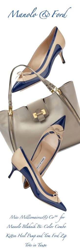 Manolo Blahnik Bi-Color Combo Kitten Heel Pumps and Tom Ford 'Sedwick' Zip Tote in Taupe