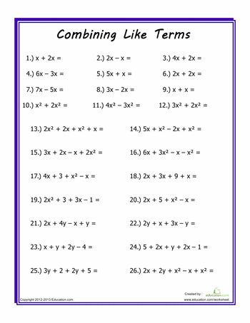 Worksheets: Combining Like Terms